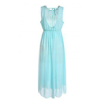 Round Neck Open Back Sleeveless Chiffon Bohemian Style Women's Dress - SKY BLUE L