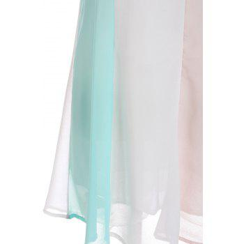 Sexy Spaghetti Strap Color Block Chiffon Backless Women's Dress - BLUE/WHITE 2XL