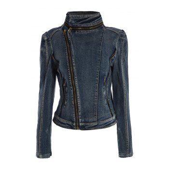 Stand Collar Zipper Long Sleeve Denim Women's Short Jacket