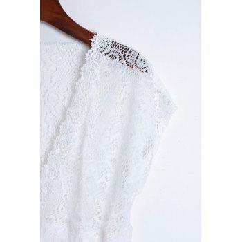 Sexy Plunging Neckline Elastic Waist Short Sleeve Mini Lace Dress For Women - WHITE ONE SIZE