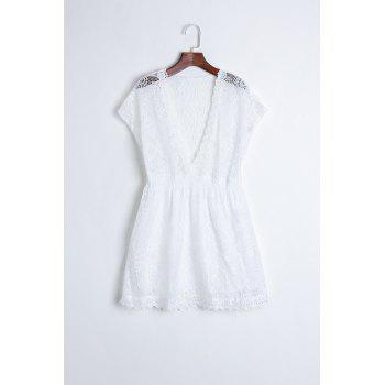 Sexy Plunging Neckline Elastic Waist Short Sleeve Mini Lace Dress For Women
