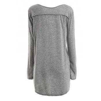 Scoop Neck Color Splicing Long Sleeve T-Shirt For Women - PINK L