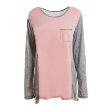 Scoop Neck Color Splicing Long Sleeve T-Shirt For Women