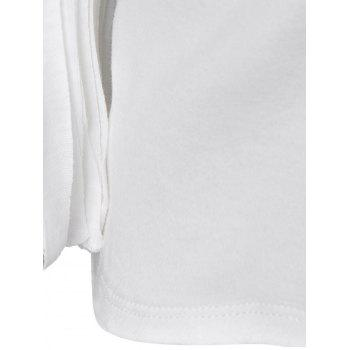 Elegant Knit Half Sleeve Render T-Shirt For Women - WHITE L