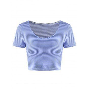 Fashionable Striped Contracted Short T For Women - BLUE AND WHITE S