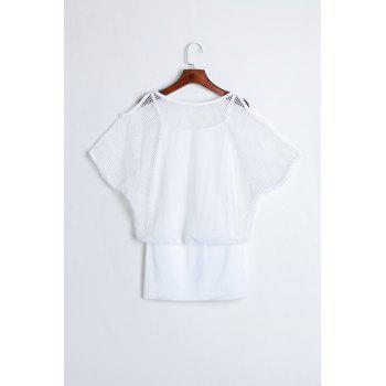 Ladylike Style Solid Color Hollow Out Bat-Wing Sleeves Women's Dress - WHITE WHITE