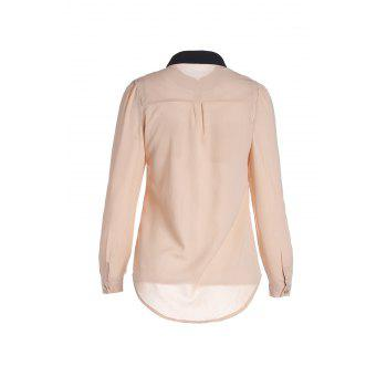 Women's OL Style Slim Splicing Color Chiffon Stand-Collar Shirt Blouse - APRICOT APRICOT
