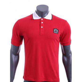 Color Block Turn-down Collar Embroidered Applique Short Sleeves Men's Polo T-Shirt