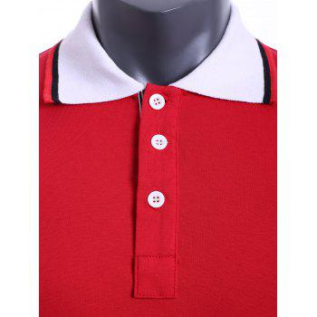 Color Block Turn-down Collar Embroidered Applique Short Sleeves Men's Polo T-Shirt - RED 2XL