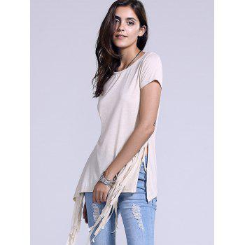 Chic Scoop Neck Fringed Side Slit Women's T-Shirt - LIGHT KHAKI XL