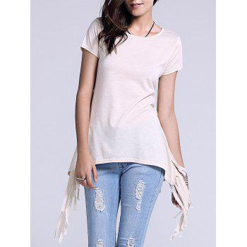 Chic Scoop Neck Fringed Side Slit Women's T-Shirt
