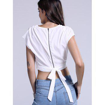 Chic Plunging Neck Women's Zippered Crop Top - L L