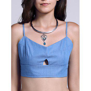 Chic Solid Color Spliced Cut Out Women's Crop Top - BLUE M