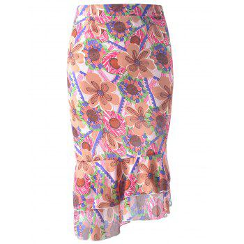 Asymmetric Ruffle Floral Print Chiffon Fish Tail Skirt For Women