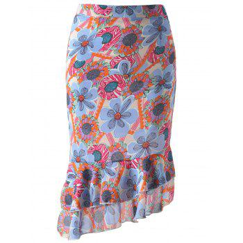 Stylish Women's Asymmetric Ruffle Floral Print Chiffon Fish Tail Skirt