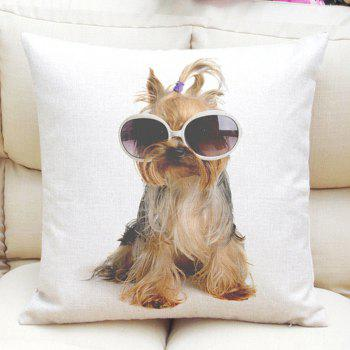 Cute Sunglasses Puppy Pattern Square Shape Flax Pillow Case (Without Pillow Inner)