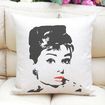 Retro Style Audrey Hepburn Pattern Square Shape Linen Pillowcase (Without Pillow Inner)