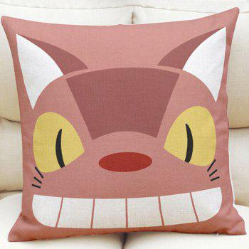 Novelty Cartoon Cat Bus Pattern Square Shape Linen Pillowcase (Without Pillow Inner)