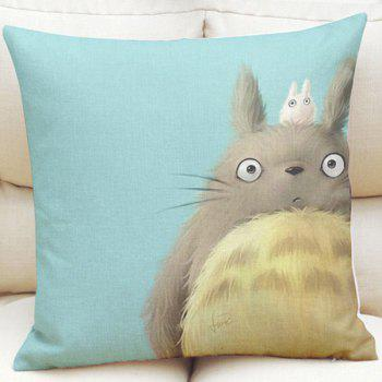 Lovely Cartoon Totoro Pattern Square Shape Linen Pillowcase (Without Pillow Inner)
