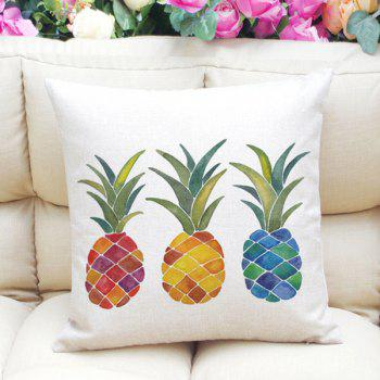 New Style Colorful Pineapples Pattern Square Shape Flax Pillowcase (Without Pillow Inner)