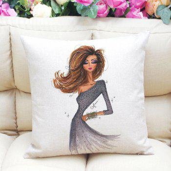 Fashion Girl Pattern Square Shape Linen Pillowcase (Without Pillow Inner)