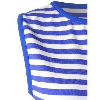 Trendy Blue and White Striped Tank Top For Women - BLUE/WHITE S