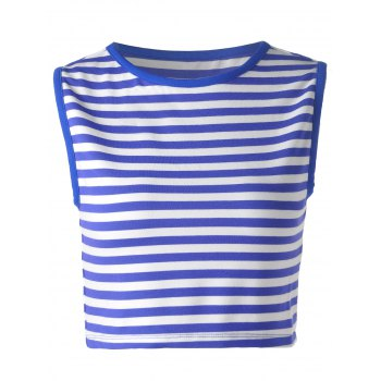Trendy Blue and White Striped Tank Top For Women