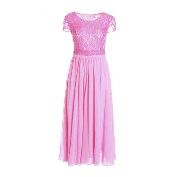Graceful Round Neck Short Sleeve Solid Color Lace and Chiffon Spliced Women's Dress