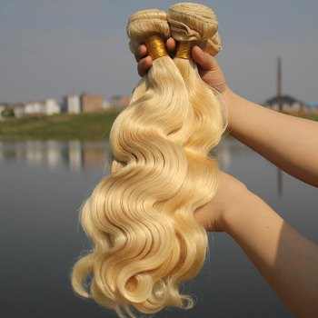 Women's 1 Pcs 7A Virgin Hair Wavy Brazil Human Hair Weave - BLONDE 24INCH
