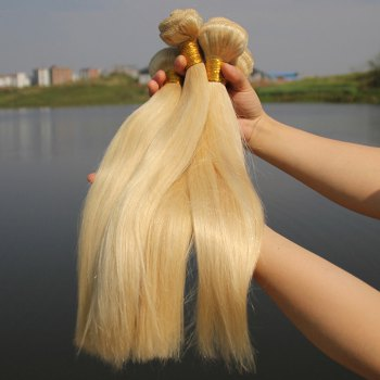 Women's Straight 1 Pcs 7A Virgin Hair Brazil Human Hair Weave - BLONDE #613 22INCH