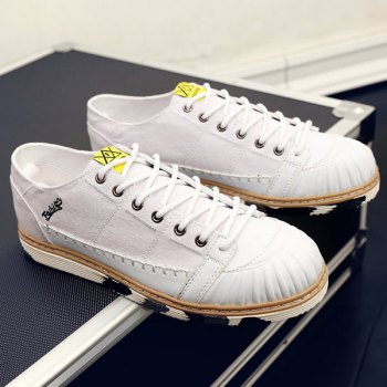 Stylish Splicing and White Color Design Men's Canvas Shoes - WHITE 43