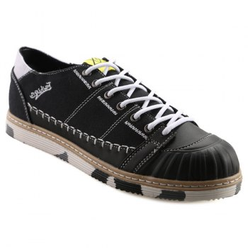 Trendy Hit Color and Lace-Up Design Men's Canvas Shoes