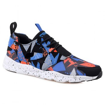 Stylish Hit Color and Breathable Design Men's Athletic Shoes - BLUE AND ORANGE 42