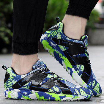 Fashionable Hit Colour and Leaf Pattern Design Men's Athletic Shoes - BLUE/GREEN 41