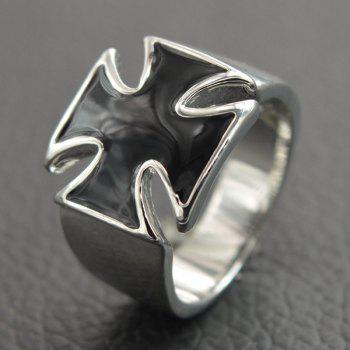 Punk Wide Glaze Cross Ring For Men