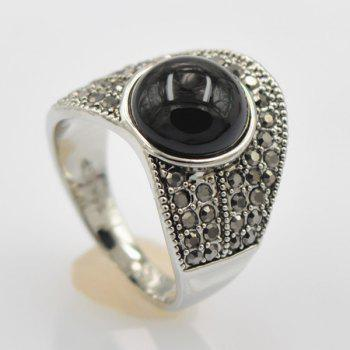 Rivet Faux Gem Decorated Ring - BLACK ONE-SIZE