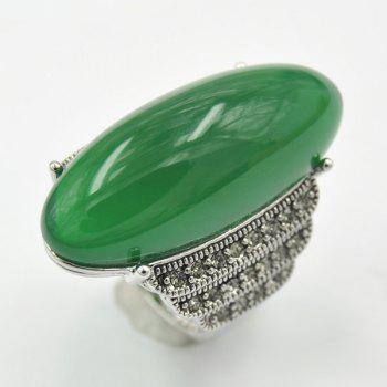 Artificial Jade Embossed Ring - DEEP GREEN ONE-SIZE