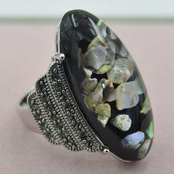 Artificial Gem Shell Embossed Ring - BLACK ONE-SIZE