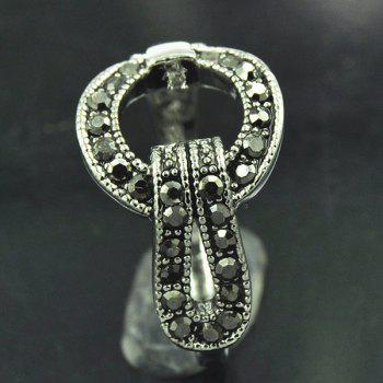Punk Rivet Decorated Buckle Ring - SILVER ONE-SIZE