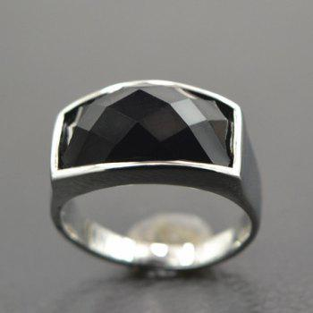 Faux Gem Curved Ring - SILVER ONE-SIZE