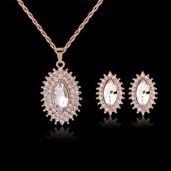 A Suit of Rhinestoned Oval Necklace and Earrings