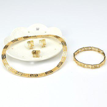 A Suit of Geometric Gold Plated Necklace Bracelet Ring Earrings - GOLDEN