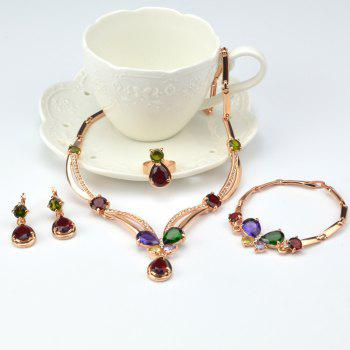 Water Drop Faux Gem Necklace Bracelet Ring Earrings - ROSE GOLD