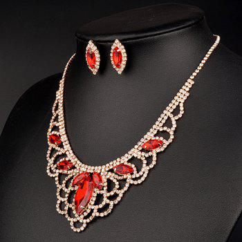 A Suit of Hollow Out Rhinestoned Necklace and Earrings - RED