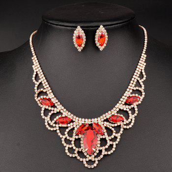 A Suit of Hollow Out Rhinestoned Necklace and Earrings