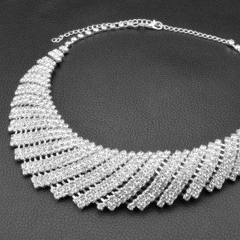 A Suit of Geometric Rhinestone Necklace and Earrings - SILVER