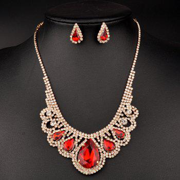 A Suit of Hollow Out Water Drop Wedding Jewelry Set