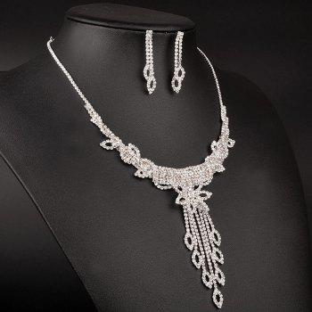 A Suit of Flower Hollow Out Wedding Jewelry Set - SILVER