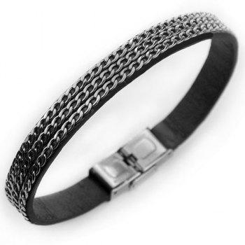 Vintage Link Chain PU Leather Bracelet