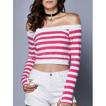 Chic Long Sleeve Hit Color Crop Top For Women
